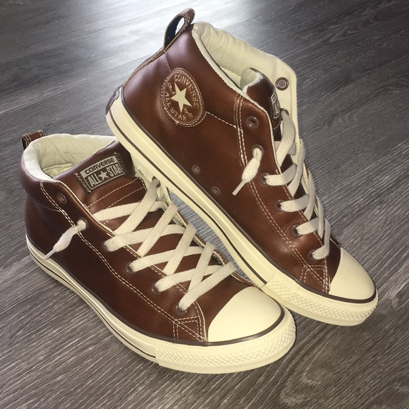 4355cf747df262 Converse Shoes - Men s converse all star brown leather high tops 8